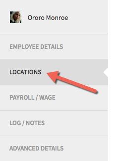 Locations tab with an arrow