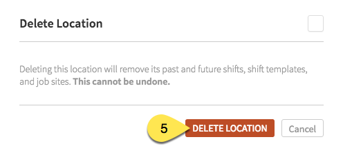 Delete Location button
