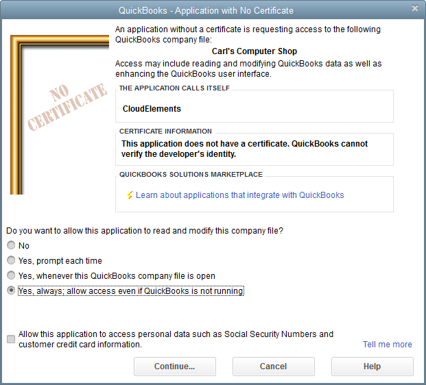 QuickBooks - Application with No Certificate window