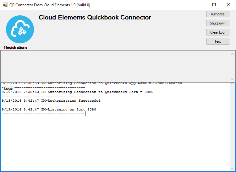 Cloud Elements Quickbook Connector application