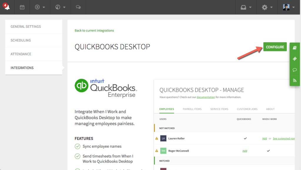 Configure button for QuickBooks Desktop