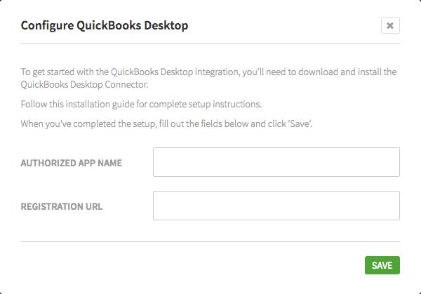 Configure QuickBooks Desktop dialog