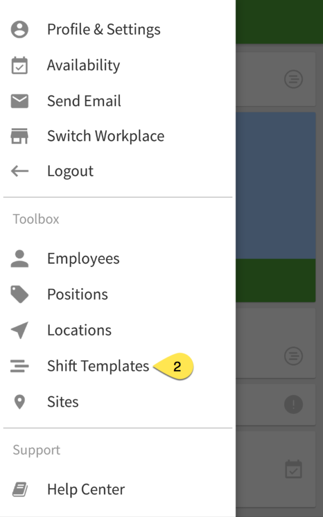 Shift Templates menu item