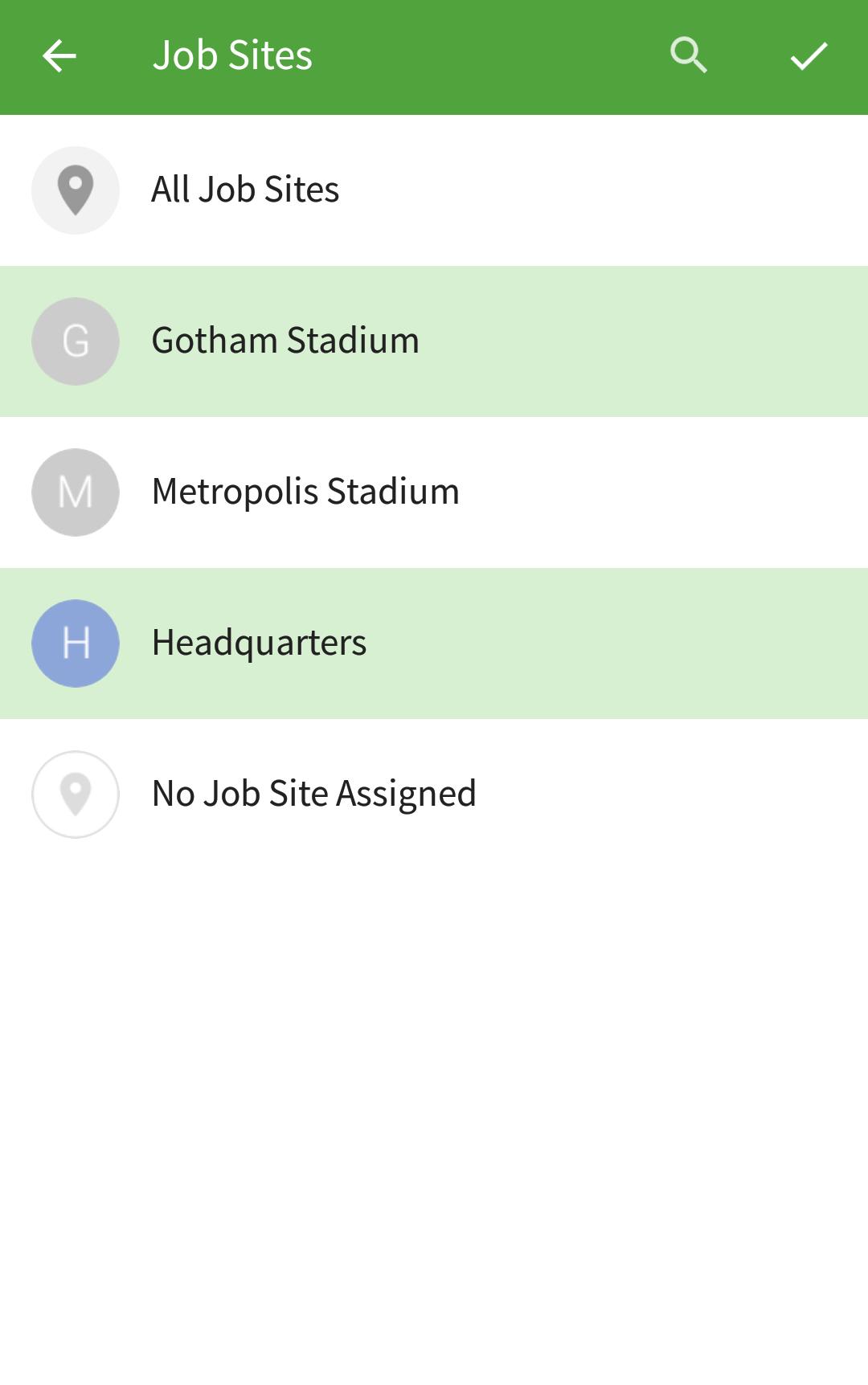 Job site filter