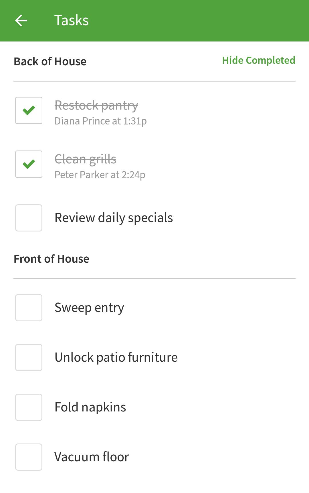 Tasks list
