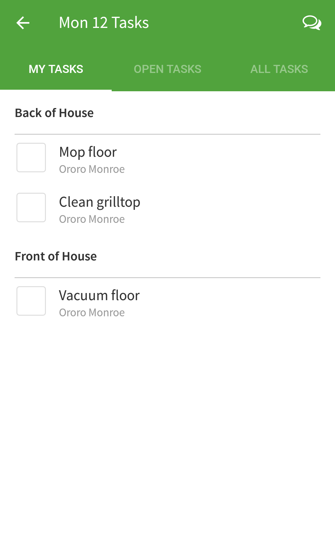 My Tasks tab
