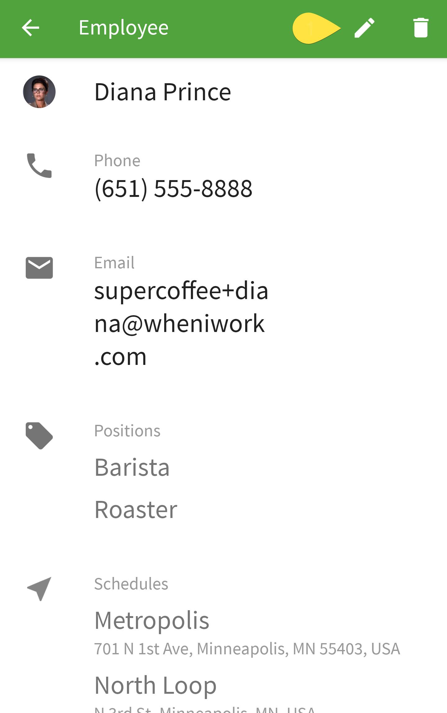 Employee edit button
