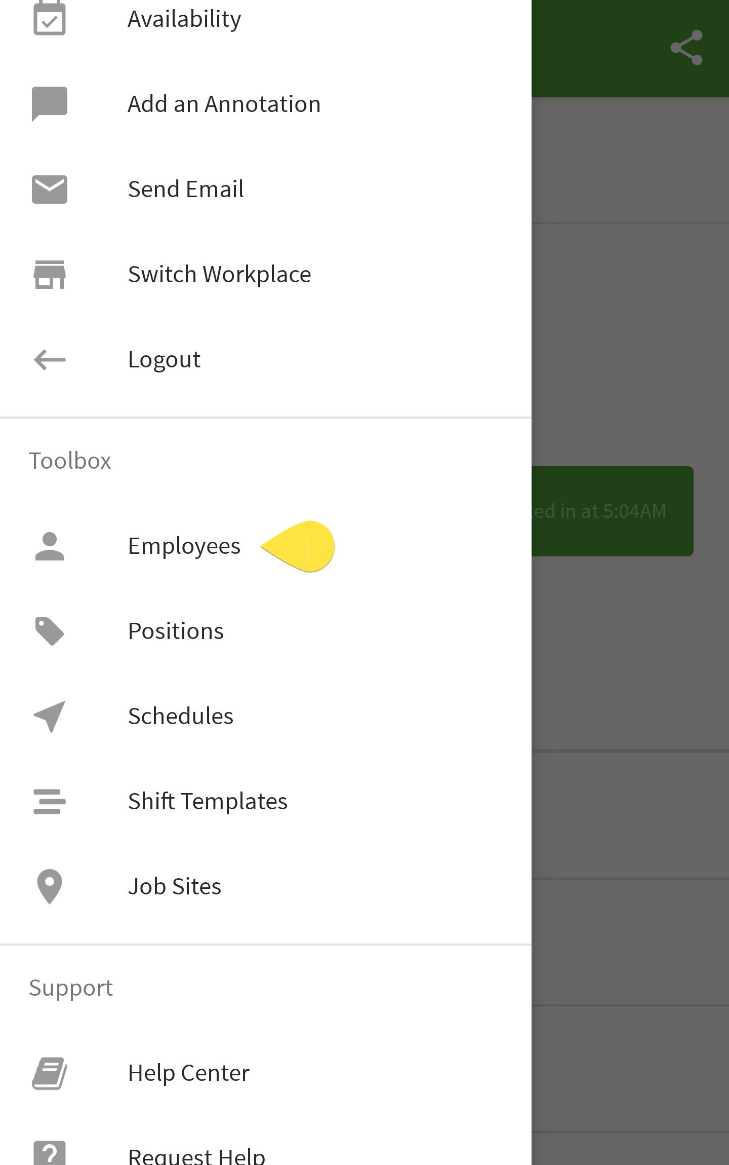 Employees menu option