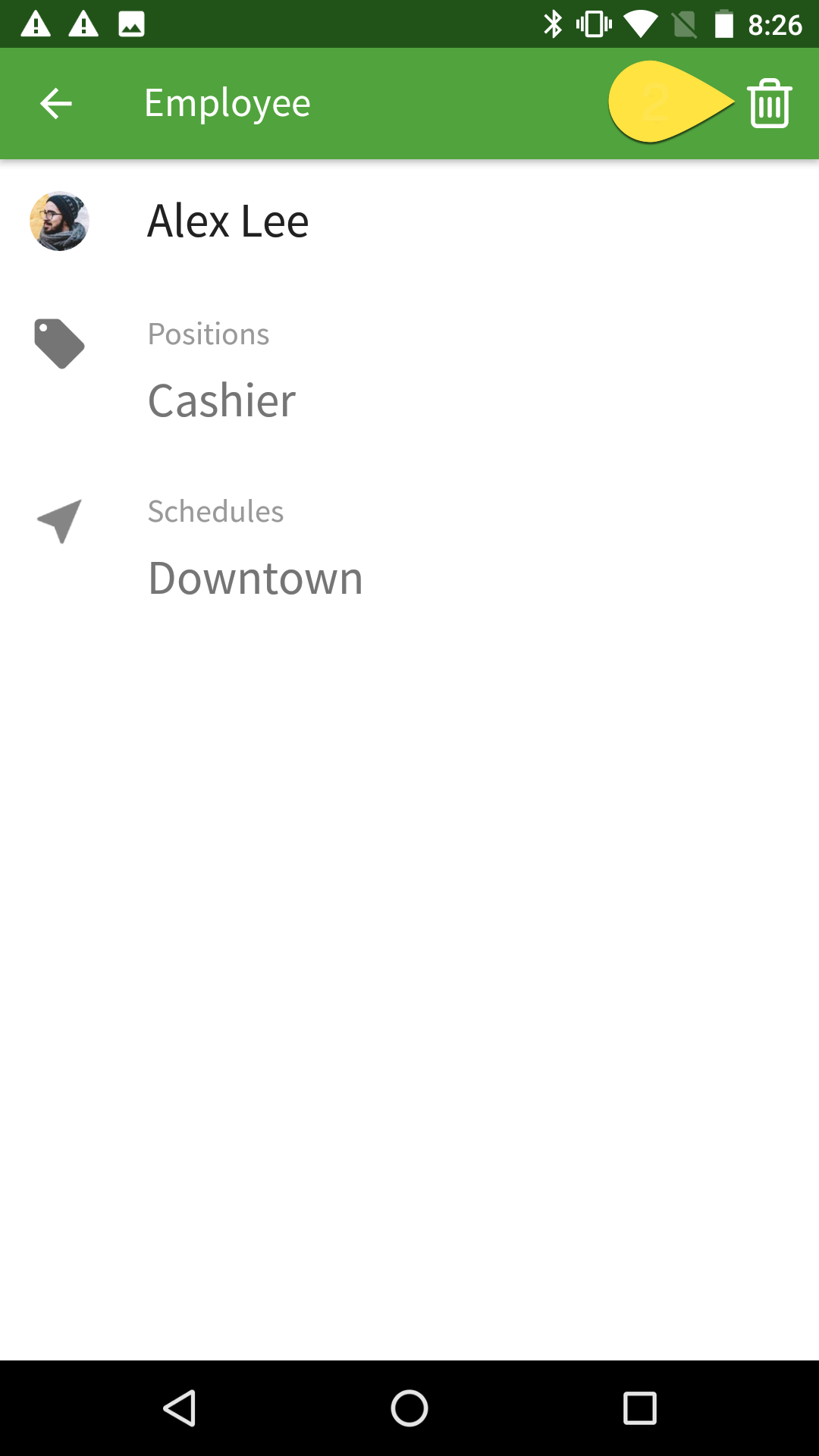 Archiving an employee from Android using the trashcan icon