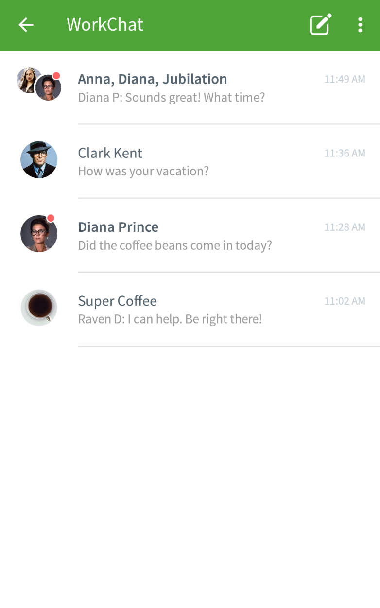WorkChat conversations list