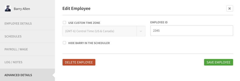 Edit employee's advanced details