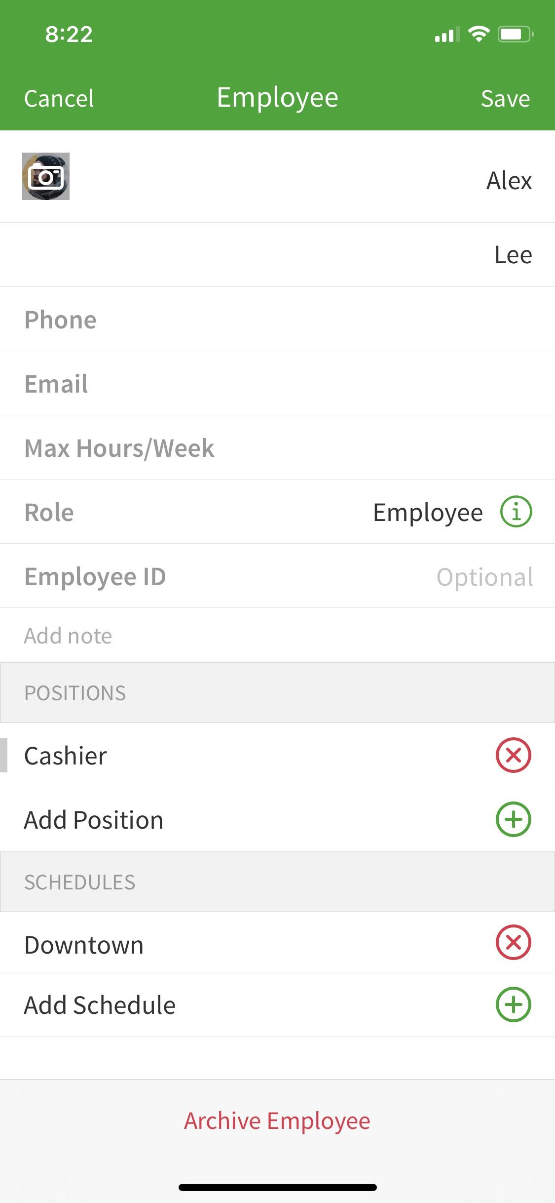 archive employee option