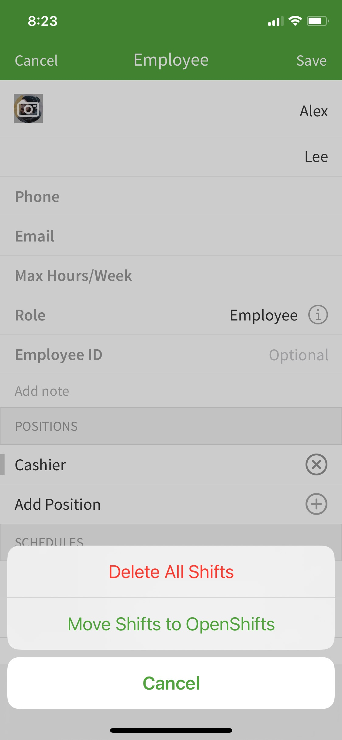 message to delete shifts or re-assign to open