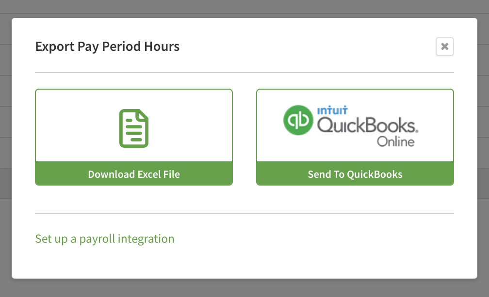 """Widnow with """"Send to QuickBooks"""" button."""