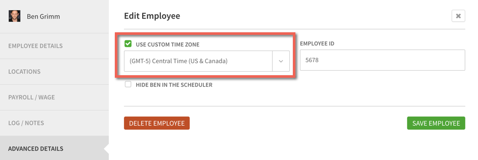 Custom Time Zone menu
