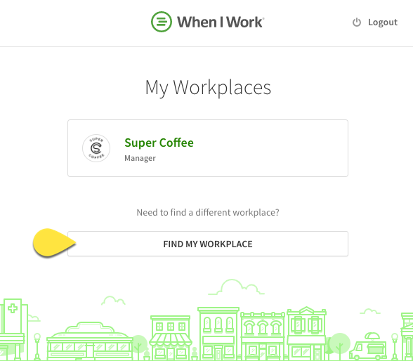 My workplaces page with Find My Workplace called out