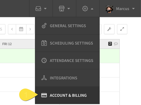 Account and billing button