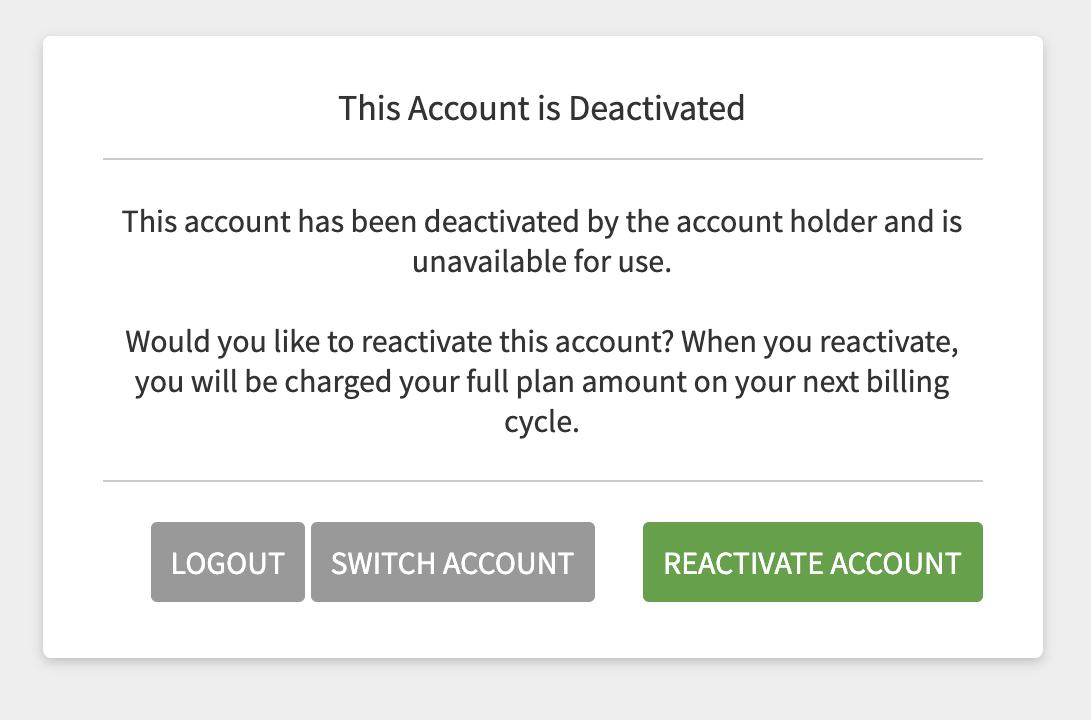 Reactivate account modal