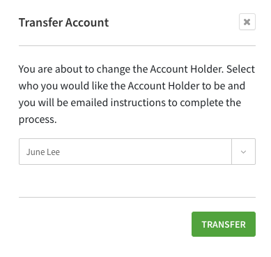 Transfer account confirmation