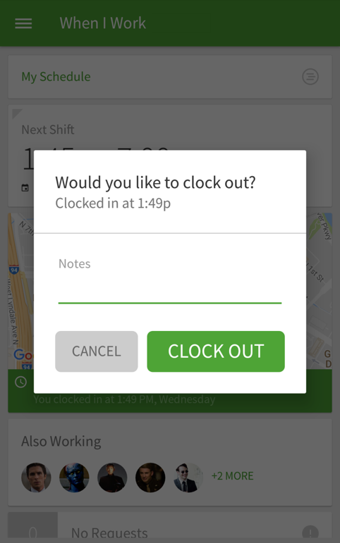 Clock out screen