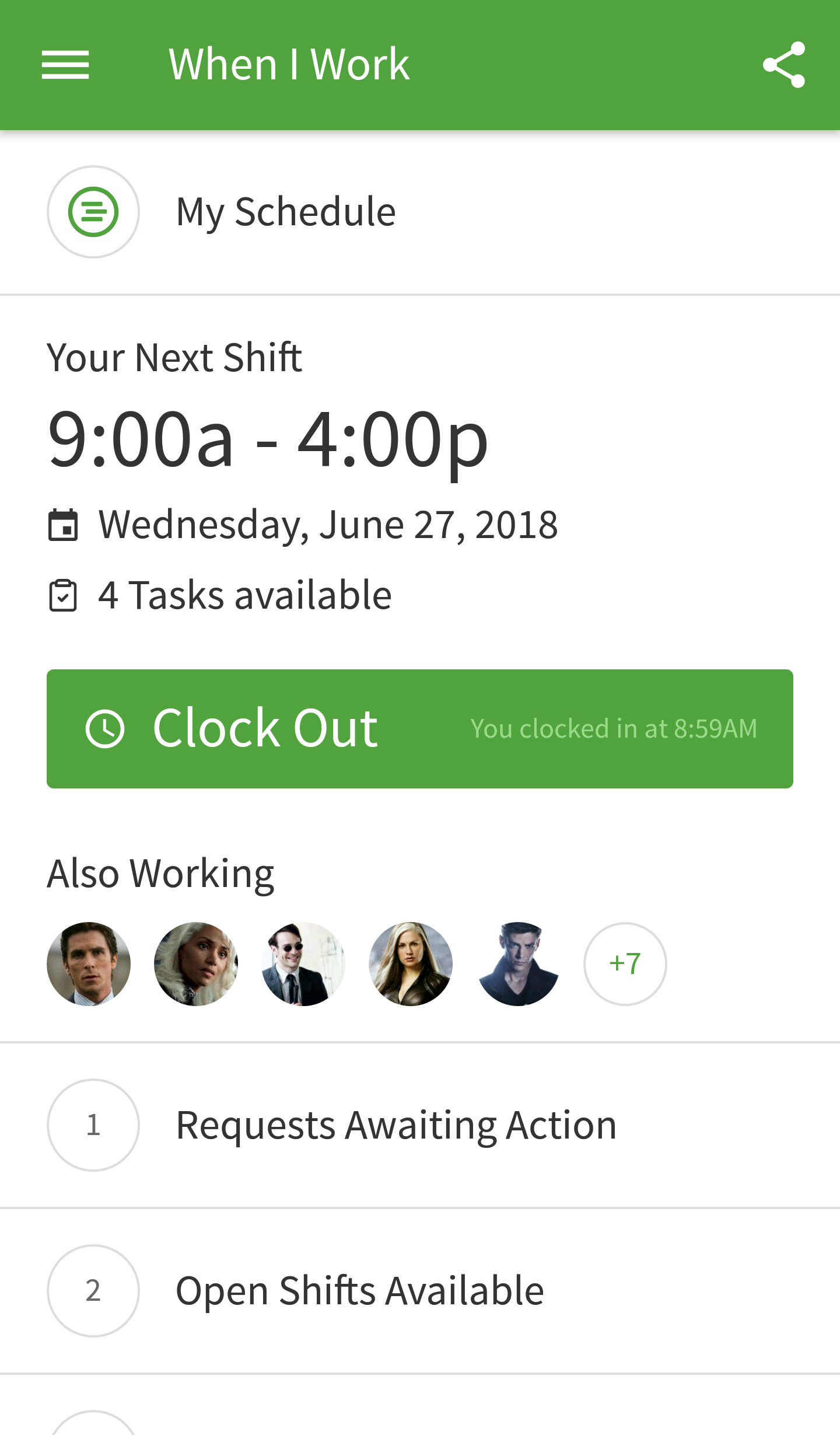 Clock Out button