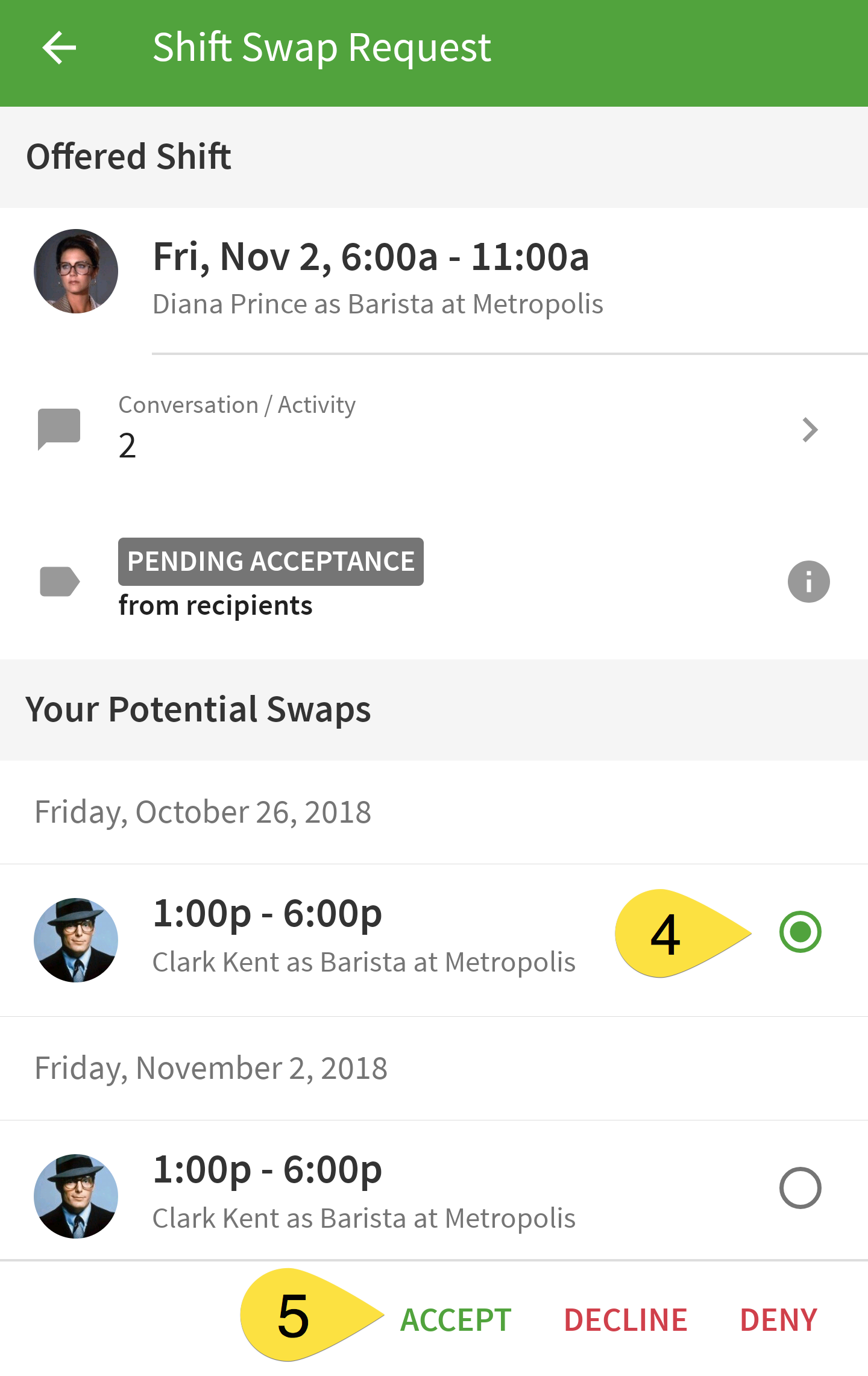 Accept swap request