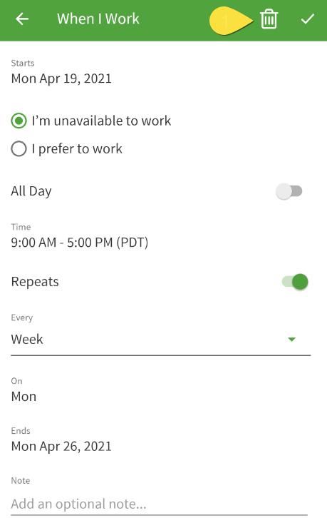 Delete availability