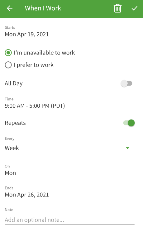 Edit availability