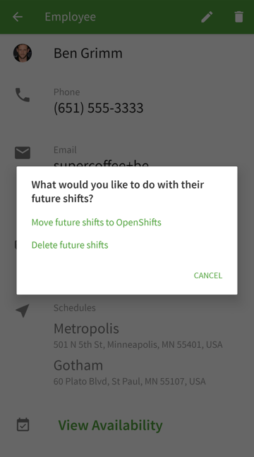 Delete future shift options