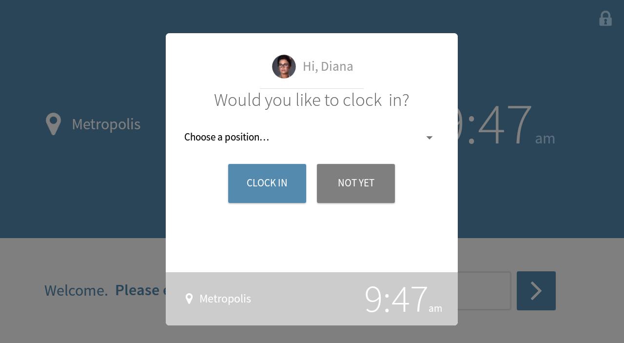 Clock in menu