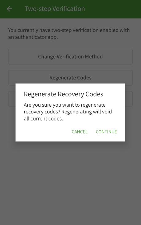 Confirm code regen