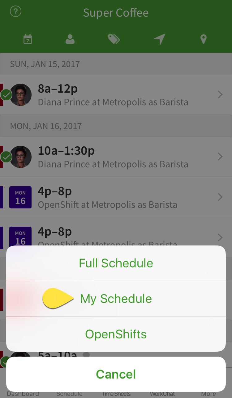 Full Schedule menu option