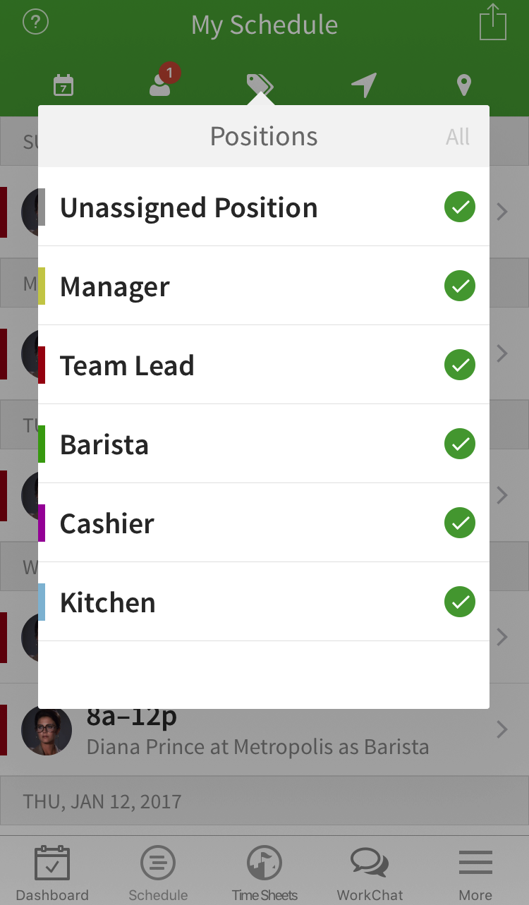 Positions filter