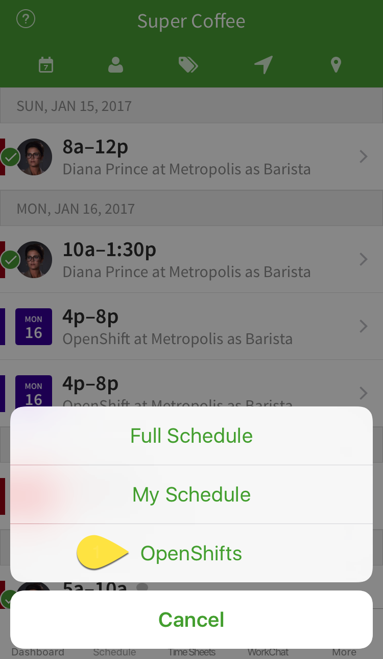OpenShifts menu option