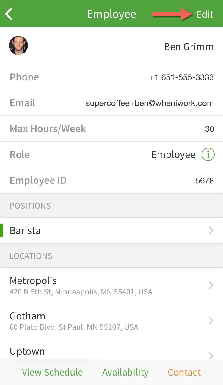 Edit employee profile button