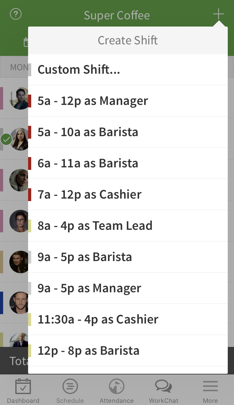 Shift template list