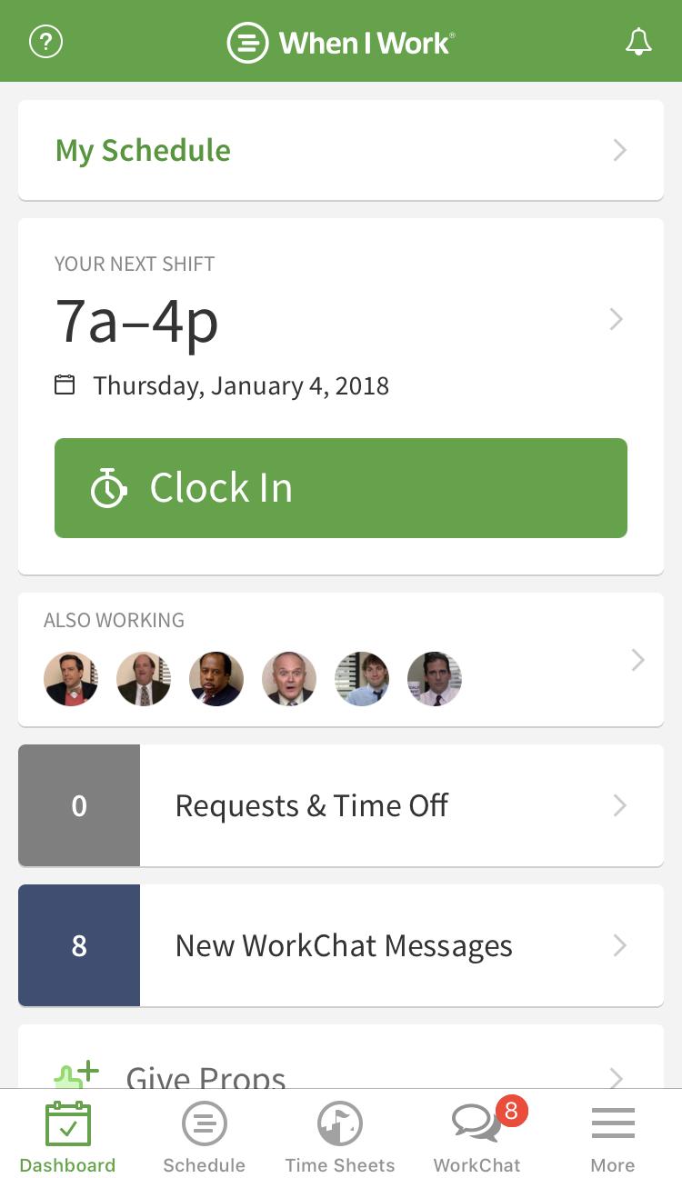 Clock in button