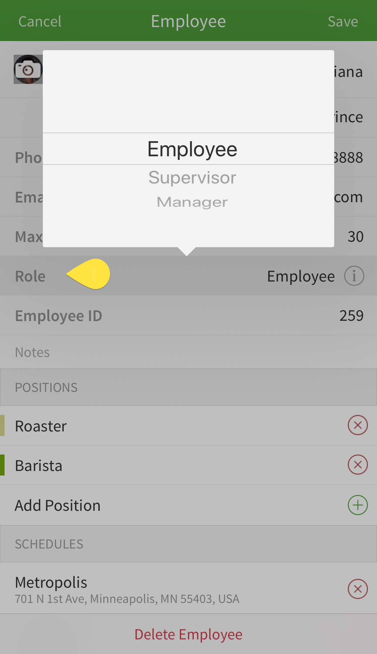 Change employee role