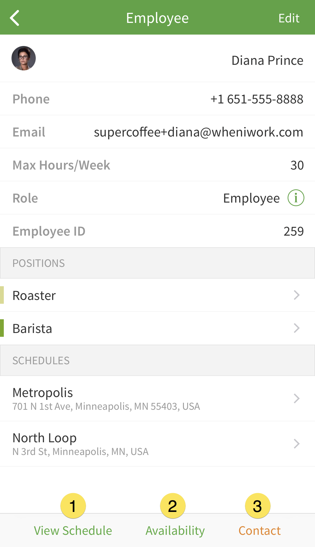Employee view options