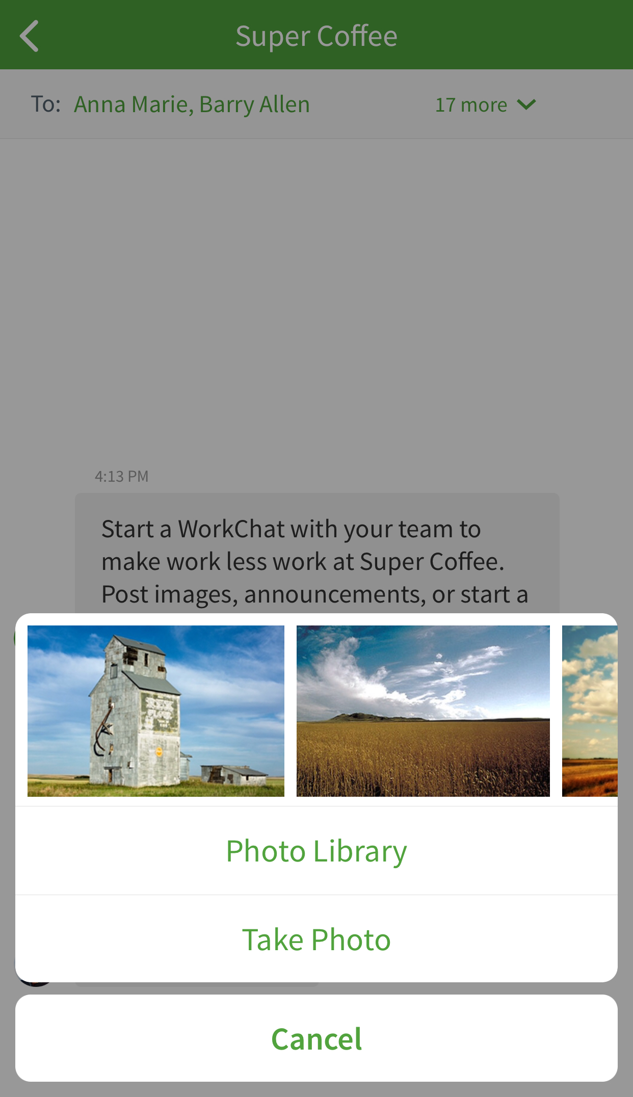 Add photo to work chat