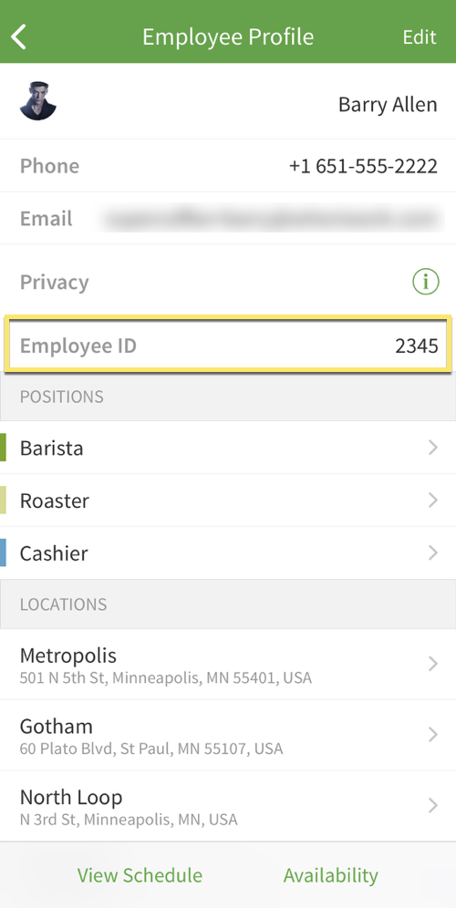 Employee profile screen with employee ID callout