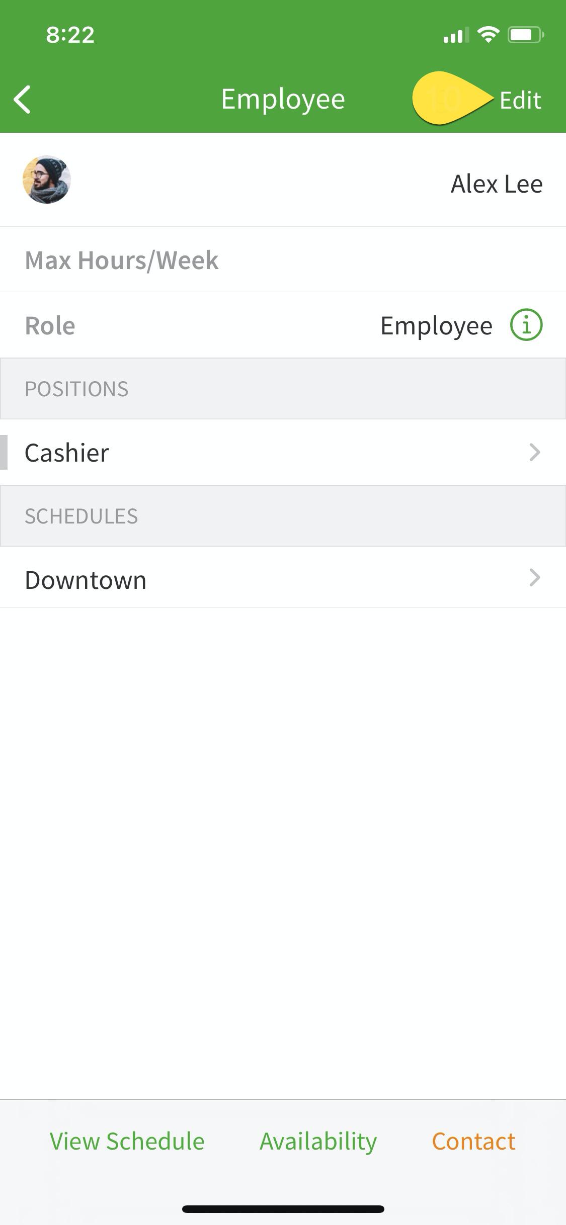 Employee profile edit option