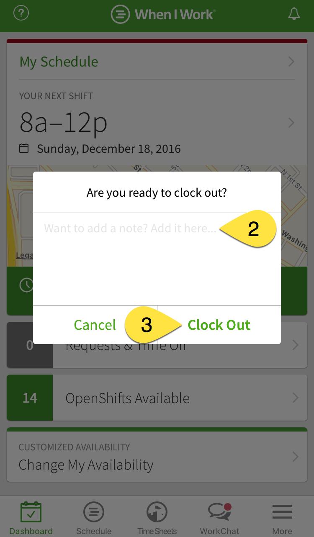 Clock Out details