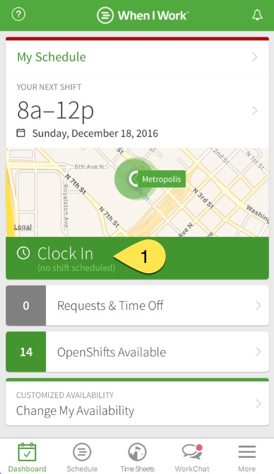 Clock in no shift scheduled