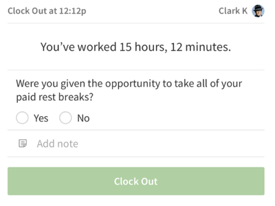 iOS terminal reporting paid breaks prompt