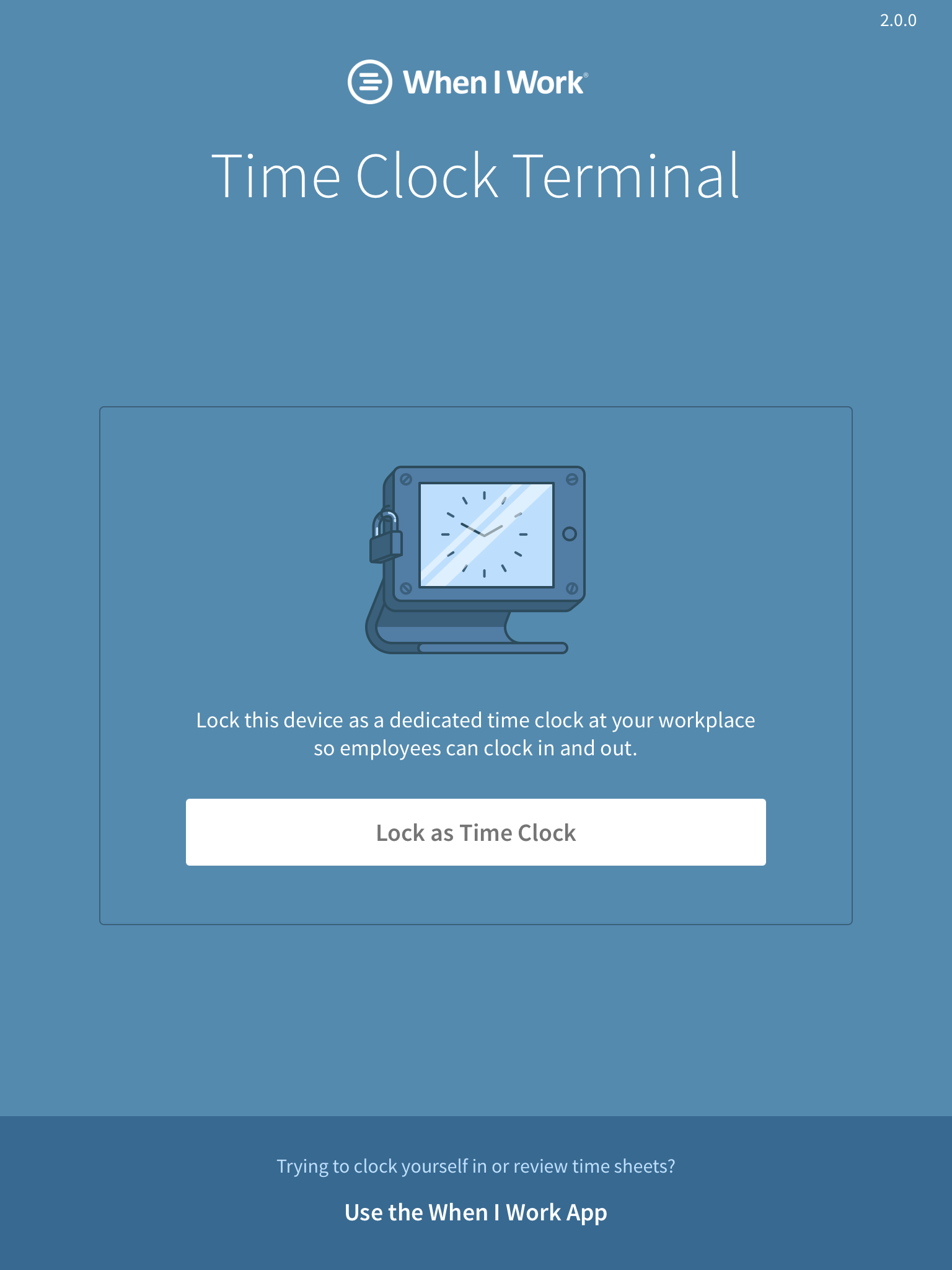 Time Clock Terminal login screen