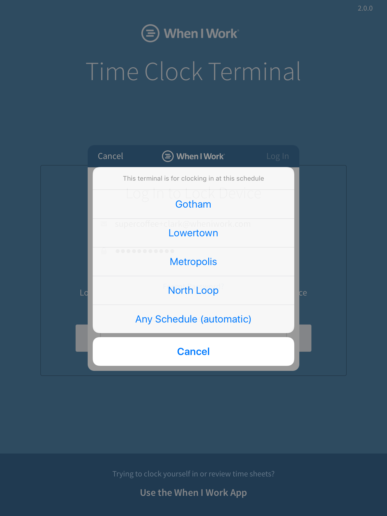 Set time clock terminal schedule