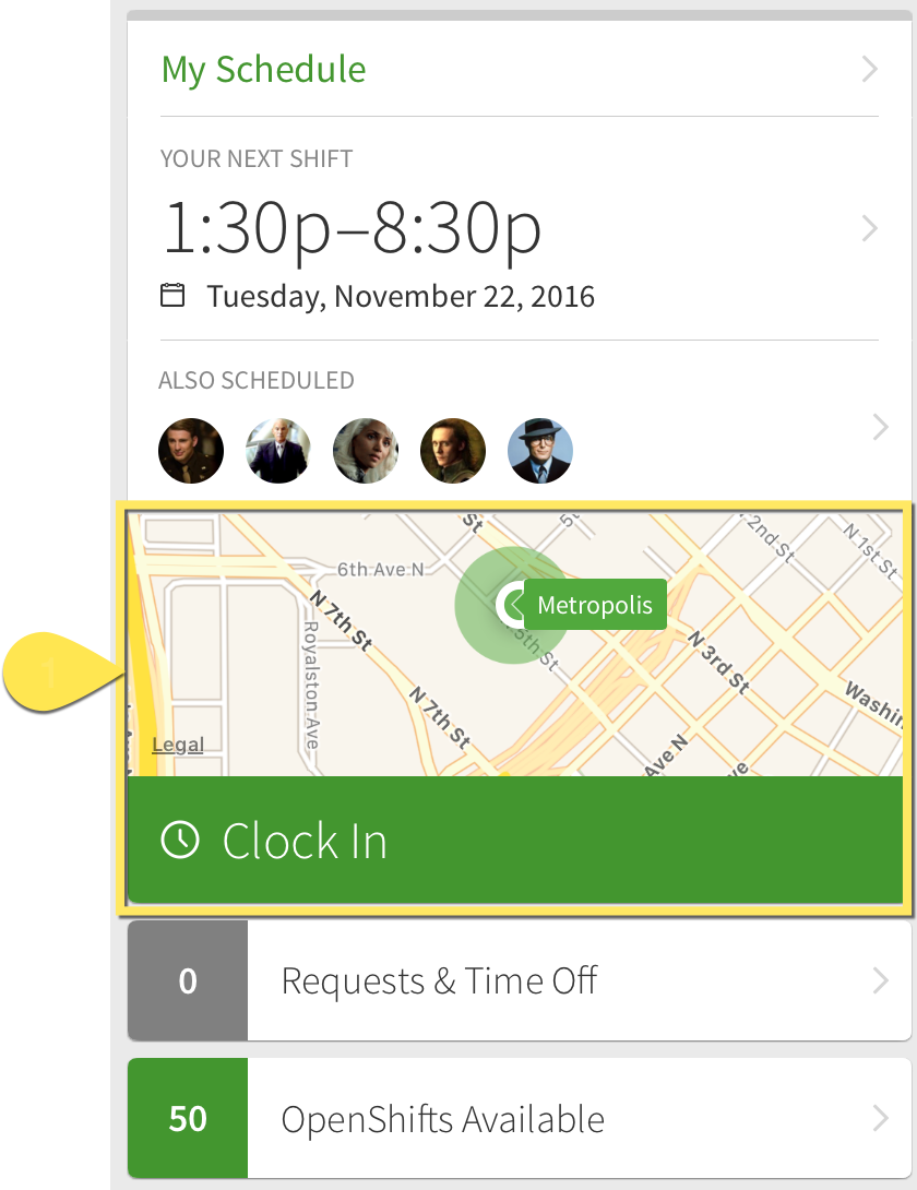 Map and Clock In button