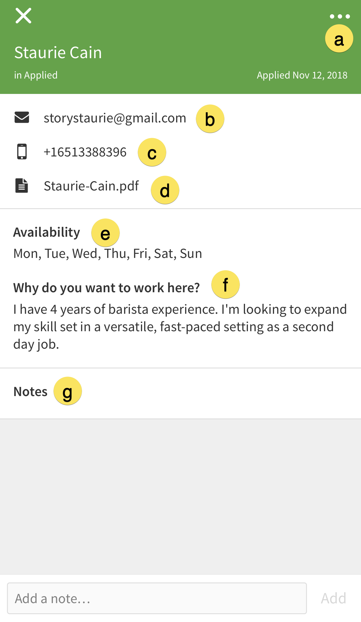 Mobile applicant screen