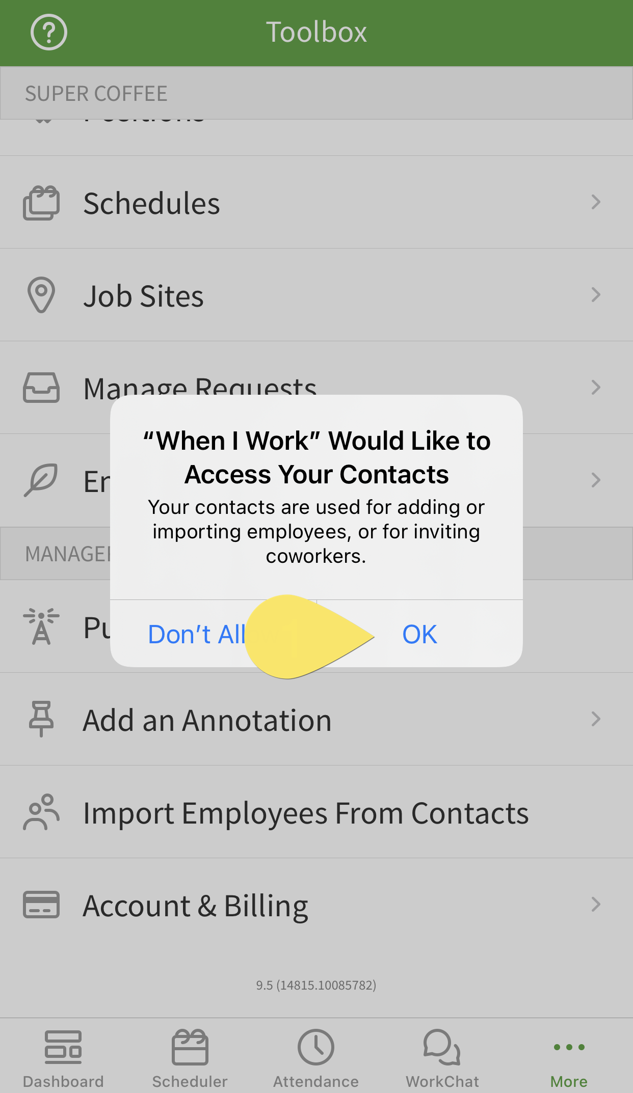 allow contact import